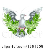 Flying White Peace Dove Holding Crossed Olive Branches