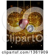 Clipart Of 3d Suspended Sparkly And Speaker Christmas Baubles Over Gold Disco Tiles Royalty Free Vector Illustration