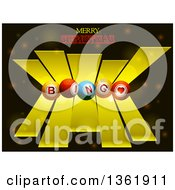 Clipart Of 3d Bingo Balls Over Yellow Stripes And Merry Christmas Text Over Flares Royalty Free Vector Illustration