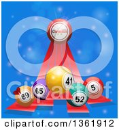 Clipart Of A 3d Merry Christmas Greeting And Bingo Balls On Red Stripes Over Blue Flares Royalty Free Vector Illustration