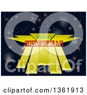 Clipart Of A Merry Christmas Greeting Over 3d Yellow Stripes Over A Background Of Snowflakes And Flares Royalty Free Vector Illustration