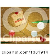 Clipart Of A Merry Christmas Gift Shaped Tag Greeting Over Wood With Baubles And Snow Royalty Free Vector Illustration
