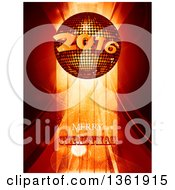 Merry Christmas Greeting Under A 3d 2016 New Year Disco Ball Over Stripes And Flares