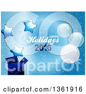 Clipart Of A Happy Holidays 2016 Text With Suspended Christmas Ornaments A Gift And Star Balloons On Blue Royalty Free Vector Illustration by elaineitalia