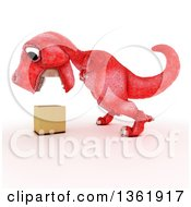 Clipart Of A 3d Red Tyrannosaurus Rex Dinosaur Looking Down At A Box On A White Background Royalty Free Illustration