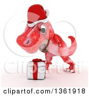 Clipart Of A 3d Red Tyrannosaurus Rex Dinosaur Roaring Over A Christmas Gift On A White Background Royalty Free Illustration