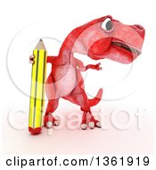 Clipart Of A 3d Red Tyrannosaurus Rex Dinosaur Presenting And Standing With A Pencil On A White Background Royalty Free Illustration