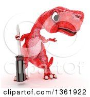 Clipart Of A 3d Red Tyrannosaurus Rex Dinosaur Holding A Screwdriver On A White Background Royalty Free Illustration