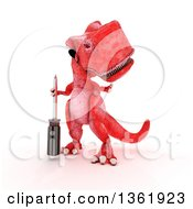 Clipart Of A 3d Red Tyrannosaurus Rex Dinosaur Holding A Phillips Screwdriver On A White Background Royalty Free Illustration