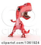 Clipart Of A 3d Red Tyrannosaurus Rex Dinosaur On A White Background Royalty Free Illustration