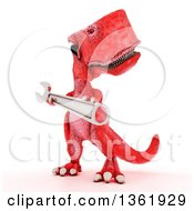 Clipart Of A 3d Red Tyrannosaurus Rex Dinosaur Holding A Wrench On A White Background Royalty Free Illustration by KJ Pargeter