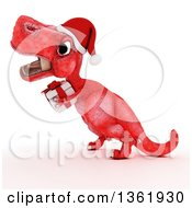 Clipart Of A 3d Red Tyrannosaurus Rex Dinosaur Carrying A Christmas Gift On A White Background Royalty Free Illustration