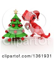 Clipart Of A 3d Red Tyrannosaurus Rex Dinosaur Holding A Gift By A Christmas Tree On A White Background Royalty Free Illustration