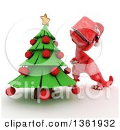 Clipart Of A 3d Red Tyrannosaurus Rex Dinosaur Decorating A Christmas Tree On A White Background Royalty Free Illustration