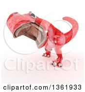 Clipart Of A 3d Red Tyrannosaurus Rex Dinosaur Roaring On A White Background Royalty Free Illustration