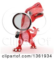 Clipart Of A 3d Red Tyrannosaurus Rex Dinosaur Searching With A Magnifying Glass On A White Background Royalty Free Illustration