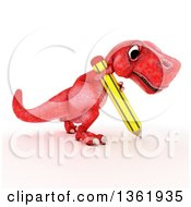 Clipart Of A 3d Red Tyrannosaurus Rex Dinosaur Writing With A Pencil On A White Background Royalty Free Illustration by KJ Pargeter