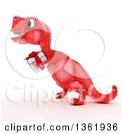 Clipart Of A 3d Red Tyrannosaurus Rex Dinosaur Carrying A Gift On A White Background Royalty Free Illustration