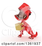 Clipart Of A 3d Red Tyrannosaurus Rex Dinosaur Carrying A Box On A White Background Royalty Free Illustration