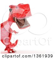 Clipart Of A 3d Red Tyrannosaurus Rex Dinosaur Roaring Cropped On A White Background Royalty Free Illustration
