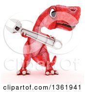 Clipart Of A 3d Red Tyrannosaurus Rex Dinosaur Holding An Adjustable Wrench On A White Background Royalty Free Illustration by KJ Pargeter