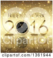 Clipart Of A 3d 2016 Happy New Year Greeting With A Clock Over Gold Stars Bokeh And Snowflakes Royalty Free Vector Illustration