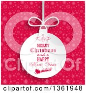 Merry Christmas And A Happy New Year Santa Sleigh Bauble Ornament Over Pink Snowflakes
