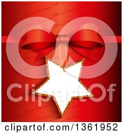 Clipart Of A 3d Star Shaped Gift Tag Frame Attached To A Bow Over Red And Merry Christmas Text Royalty Free Vector Illustration