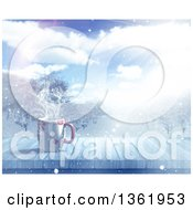 Clipart Of A 3d Hot Cup Of Coffee On A Wood Table With A Winter Landscape View Royalty Free Illustration