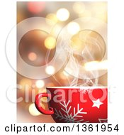 Clipart Of A 3d Steamy Snowflake Christmas Mug With A Hot Beverage Over Bokeh Flares Royalty Free Illustration