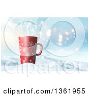 Clipart Of A 3d Tall Christmas Coffee Snowflake Mug In Snow Royalty Free Illustration