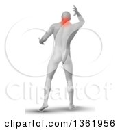 Clipart Of A 3d Rear View Of A Medical Anatomical Male Reaching Back With Glowing Neck Pain On White Royalty Free Illustration