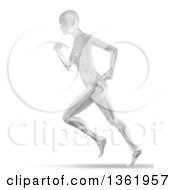 Clipart Of A 3d Grayscale Anatomical Woman Running With Visible Skeleton On White Royalty Free Illustration