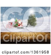 3d Wood Table With A Blurred View Of Santa With Gifts And A Tree On A Winter Day