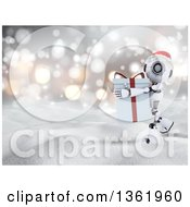 Clipart Of A 3d Futuristic Robot Wearing A Christmas Santa Hat And Carrying A Big Gift In The Snow Royalty Free Illustration by KJ Pargeter
