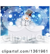 Clipart Of A 3d Snowman Character Over A Blank Sign Snow And Bokeh With Stars Royalty Free Illustration