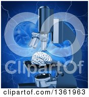 Clipart Of A 3d Human Brain Under A Microscope Over A Larger Brain With Blue Lightning Royalty Free Illustration