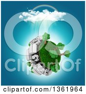 Clipart Of A 3d Busy Roadway With Big Rig Trucks Around A Grassy Planet With Trees A Rainbow And Rain Cloud On White Royalty Free Illustration