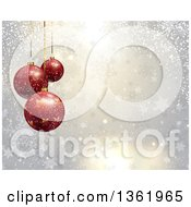 Clipart Of A Christmas Background Of Suspended 3d Red Star Baubles Over Snowflakes And Stars Royalty Free Vector Illustration