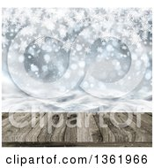 Clipart Of A 3d Christmas Or Winter Background Of A Deck Or Table With A View Of Snowflakes And Bokeh Flares Royalty Free Illustration