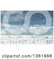Clipart Of A 3d Winter Landscape Background Of Grasses And Bare Trees In The Snow Royalty Free Illustration