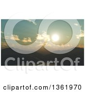 Clipart Of A 3d Mountainous Lake Sunset Landscape Royalty Free Illustration