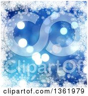 Clipart Of A Blue Flare Christmas Background Bordered In White Snowflakes And Stars Royalty Free Illustration