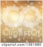 Clipart Of A Gold Snowflake Winter Or Christmas Background With Stars Royalty Free Illustration