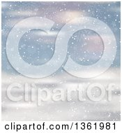 Clipart Of A Christmas Winter Background Of Snowflakes And Stars Falling Over Blurred Snow Royalty Free Vector Illustration