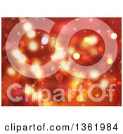 Clipart Of A Christmas Background Of Bokeh Flares And Stars On Red Royalty Free Illustration