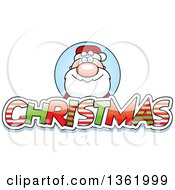Clipart Of Santa Claus Over Patterned Christmas Text Royalty Free Vector Illustration by Cory Thoman