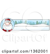 Clipart Of A Santa Claus And Winter Landscape Christmas Banner Royalty Free Vector Illustration by Cory Thoman