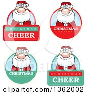 Clipart Of Santa Claus Christmas Badges Royalty Free Vector Illustration by Cory Thoman