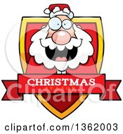 Clipart Of A Santa On A Shield With A Christmas Season Text Banner Royalty Free Vector Illustration